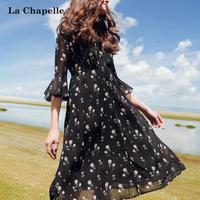 拉夏贝尔拉夏贝尔裙子2017秋季新款气质淑女长款雪纺时尚显瘦碎花连衣裙女10014999