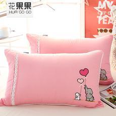 花果果 全棉蕾丝小象粉色羽丝枕 枕头枕芯 透气亲肤