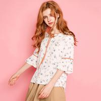 puella2017秋装新款韩版宽松碎花系带荷叶边袖可爱七分袖学生上衣衬衫女20010743