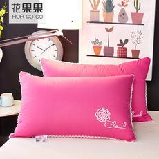 花果果 全棉羽绒浪漫枕  情侣结婚枕 枕头枕芯 粉红玫瑰绣花