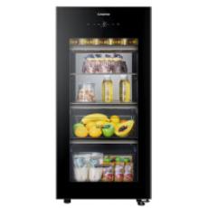 海尔(Haier)家用冰吧冷柜132升立式玻璃门酒柜茶叶柜冷藏保鲜冰柜 LC-132WBU1