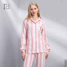 I'd爱帝18暖冬新品女士浪漫条纹中厚款家居服睡衣套装