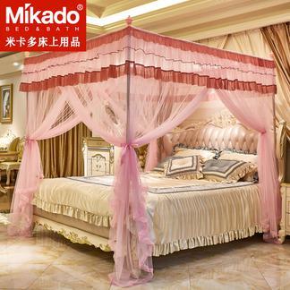 米卡多蚊帐1.5m1.8m床双人家用2.0米三开门落地支架宫廷公主风加厚加密宫廷88158