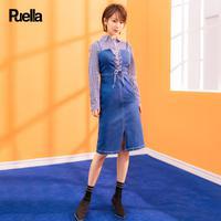 puella 两件套连衣裙女2018春装新款韩版时尚衬衫配牛仔裙中长款套装裙潮20011675【春款】