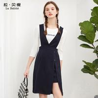 拉贝缇高腰连衣裙两件套2018春夏季新款韩版背带时髦套装中长裙子60006740【夏款】