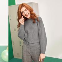 puella蝙蝠袖针织衫女2018春装新款韩版学生宽松小个子套头慵懒短款毛衣20011820【春款】