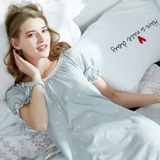 I'd爱帝女式小兔印花插肩袖睡裙新品纯棉舒适透气家居裙夏季睡衣