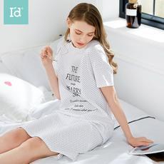 I'd爱帝女式星星印花短袖睡裙纯棉字母印花波点睡衣女士简约家居裙子