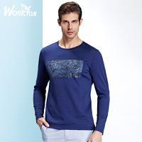 哈雷纳金狐狸 青年男士休闲时尚印花图案纯棉长袖T恤H522553601