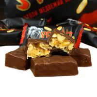 俄罗斯进口小棕熊巧克力花生夹心士力架独立包装休闲婚庆糖果500克*2包