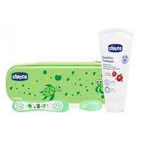 保税区  智高chicco意大利智高牙刷牙膏套装(绿)(12个月以上用)