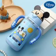 【包邮】迪士尼Disney-卡通盖儿童保温杯300毫升宝宝水瓶不锈钢双柄带吸管幼孩学园暖水壶趣味水杯-米奇蓝
