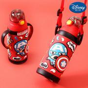 【包邮】迪士尼Disney-漫威红双柄保温杯320毫升儿童吸管水瓶把手背带多用宝宝壶3D浮雕图文户外学园幼孩冷暖水杯