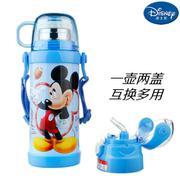 【包邮】迪士尼Disney-米奇蓝双盖保温杯400毫升双层高真空不锈钢感温变色滑锁扣学童男女吸管背带户外水壶瓶杯
