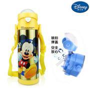 【包邮】迪士尼Disney-米奇黄锁扣弹盖保温杯500毫升吸管杯附背带防漏学童饮水杯壶瓶