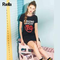 puella印花字母裙夏季连衣裙女2018新款短袖学生撞色运动短款T恤裙子潮20012172【夏款】