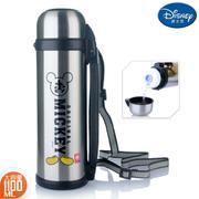 【包邮】迪士尼Disney-本色不锈钢保温壶1100毫升大容量保冷暖车载家用出游肩背手提水瓶壶杯