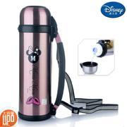 【包邮】迪士尼Disney-粉色不锈钢保温壶1100毫升大容量保冷暖车载家用出游肩背手提水瓶壶杯