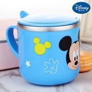【包邮】迪士尼Disney-米奇蓝单柄带盖水杯290毫升宝宝孩学童口杯防漏耐摔带把手不锈钢广口直饮杯