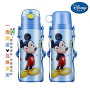 【包邮】迪士尼Disney-蓝米奇双盖保温杯480毫升不锈钢保冷热水壶感温变色吸管杯直饮杯孩童学园背带户外暖水瓶杯壶