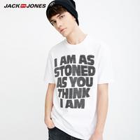 JackJones杰克琼斯夏男潮流纯棉字母宽松圆领T恤短袖2181T4545