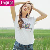 Lagogo2018夏季新款白色上衣纯棉甜美短袖亮片字母装饰圆领T恤女HATT315Y03