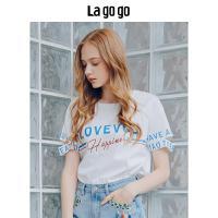 Lagogo2018年夏季新款女装宽松上衣学院风短袖印花开衩棉T恤潮HATT315Y05