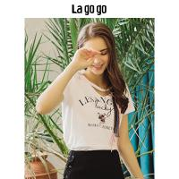 Lagogo2018夏季新款时尚休闲上衣小清新白色学院风短袖印花T恤女HATT315Y07