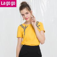 Lagogo2018夏季新款袖口翻边短袖圆领T恤交叉织带直筒纯色上衣女HATT333C08