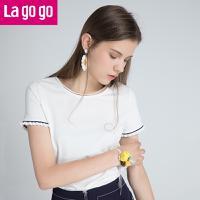 Lagogo2018夏季新款女装白色圆领T恤短袖撞色木耳边宽松休闲上衣HATT335A06