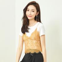 【拉夏贝尔线上专享仅售150元】拉夏贝尔2018新款时尚小心机短袖T恤蕾丝两件套