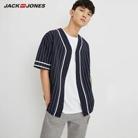 JackJones杰克琼斯夏男棒球撞色棉麻V领短袖衬衫衣MLMR|218204520