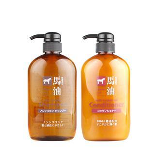 熊野油脂(咖思美)马油洗发水护发素套装600ml*2瓶/套