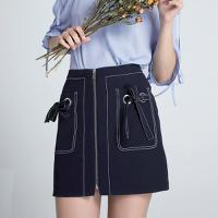 Lagogo2018夏季新款时尚短裙藏青色个性半身裙高腰裙子气质女HABB134M21