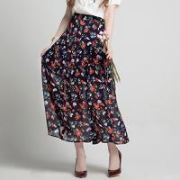 Lagogo2018夏季新款女高腰单排扣雪纺小碎花半身裙沙滩裙百褶长裙HABB304A30