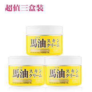 日本 马油(LOSHI)北海道马油 补水滋润面霜220g 3只装