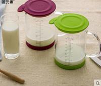 居元素玻璃牛奶杯耐热微波炉杯子热奶刻度凉水杯宝宝儿童奶杯美刻