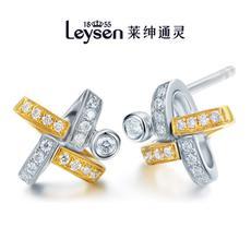 Leysen1855莱绅通灵王室珠宝 18K金钻石耳钉十字满钻(实物以证书为准)