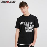 JackJones杰克琼斯男夏季纯棉圆领印花情侣款短袖T恤218201523