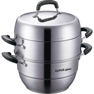 苏泊尔30cm蒸锅304不锈钢三层多层加厚蒸馒头蒸馍电磁炉通用锅具SZ30V1