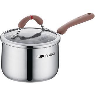 新品苏泊尔芯彩奶锅小红圈不锈钢汤奶锅煮粥下面泡面锅电磁炉燃气RT16AA1