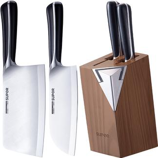 苏泊尔不锈钢家用套装刀具厨房切菜刀磨刀石多用刀尖峰TK1521Q